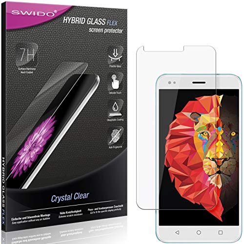 SWIDO Panzerglas Schutzfolie kompatibel mit Intex Lions 6 Bildschirmschutz-Folie & Glas = biegsames HYBRIDGLAS, splitterfrei, Anti-Fingerprint KLAR - HD-Clear