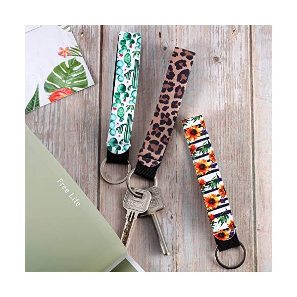 15 Pieces Neoprene Wristlet Keychain Wrist Lanyard Keychain Holder for Women Girls