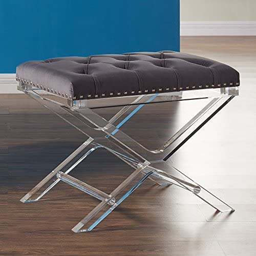 Armen Living Cody Ottoman in Grey Velvet and Acrylic Finish product image