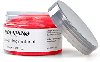 Hair Wax Pomades 4.23 oz - Natural Hair Coloring Wax Material Disposable Hair Styling Clays Ash for Cosplay, Party,Show (Red)