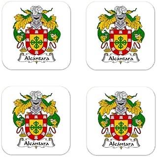 Alcantara Family Crest Square Coasters Coat of Arms Coasters - Set of 4