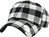 KBE-Plaid WHT-BLK 6 Panel Buffalo Plaid Dad Hat Baseball Classic Adjustable Soft Plain Cap