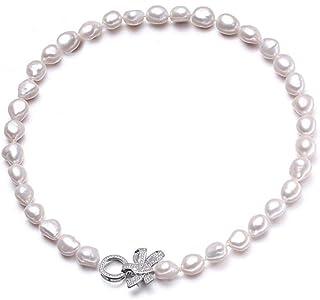 Roapk 10-11Mm Vera E Propria Collana di Perle d'Acqua Dolce Naturale da Donna, Bella Grande Collana Barocca di Perle-Bianc...