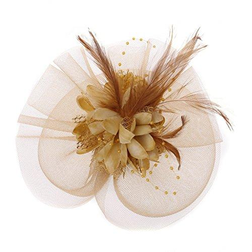 niumanery Womens Vintage Mesh Net Fascinator Headband Hair Clip Tea Party Cocktail Wedding Gold