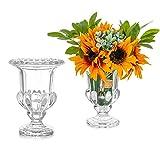 Glasseam Florero De Vidrio para Flores Juego De 2 Vasos De Cristal Transparente Florero Bud Vaso para Decoración del Hogar Mesa Centros De Escritorio Oficina Regalos De Boda