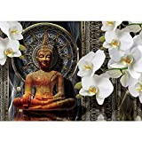 Vlies Fototapete PREMIUM PLUS Wand Foto Tapete Wand Bild Vliestapete - Blumen Blüten Orchideen Buddha Muster - no. 3021, Größe:368x254cm Blueback Papier