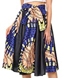Sakkas W17621 - Dayo Circle - Jupe mi-Longue à Taille élastique - Cire Africaine Multicolore d'Ankara - 13-YellowRoyalPeach - OS