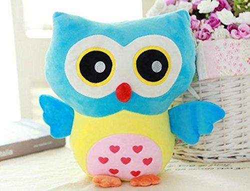 Rainbow Fox Owl Stuffed Toy Plush Doll Lovely Owl Shaped Perfect Decorative Pillow (Blue)