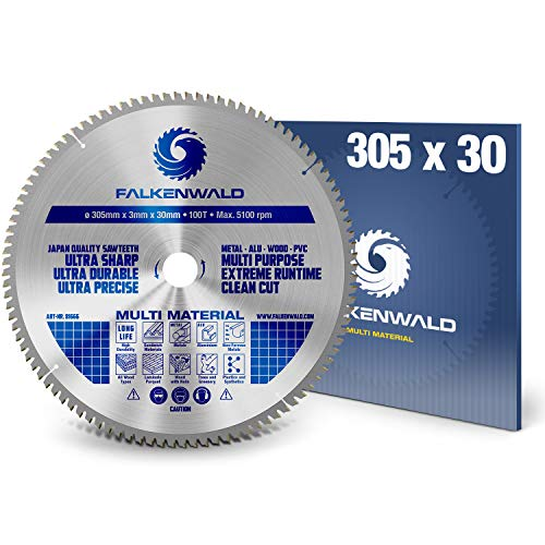 FALKENWALD ® Kreissägeblatt 305 x 30 mm - Ideal für Holz, Metall & Alu - kompatibel mit Gehrungssäge & Tischkreissäge von Bosch, DeWalt & ATIKA - Universal Sägeblatt aus hochwertigem Hartmetall