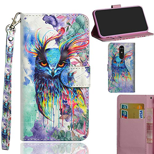 Ooboom LG Stylus 4/LG Stylo 4/LG Q Stylus Hülle 3D Flip PU Leder Schutzhülle Handy Tasche Hülle Cover Ständer mit Kartenfach Trageschlaufe für LG Stylus 4/LG Stylo 4/LG Q Stylus - Bunt Eule