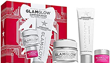 Glamglow Clear Skin in 3,2,1 Set with Glamglow Supermud Clearing Treatment 1.7oz, Glamglow Supercleanse 5oz and Glamglow Mega Illuminating Moisturizer in Nude Glow 0.5oz