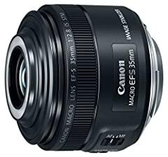 EF-S series macro Lens with built-in macro Lite Bright f/2.8 aperture and 35mm standard angle of view Hybrid image stabilization