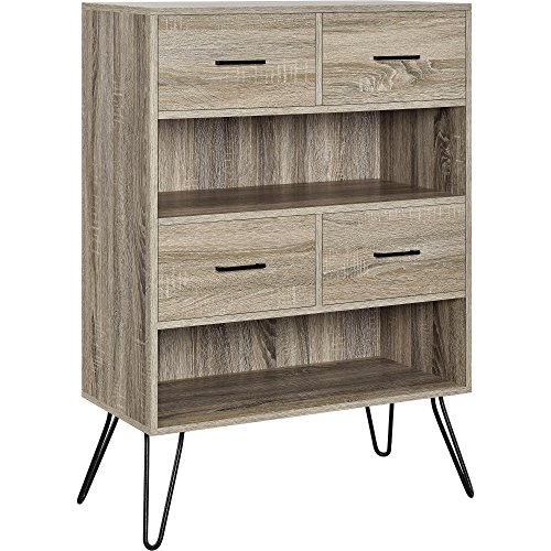 Cabinet with Drawers and Hairpin Legs (Oak / Gray)