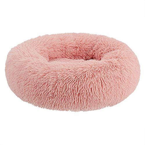 Gnitoaim Deluxe Haustierbett Hundebett Katzenbett, Waschbar Rundes Comfy Warm Plüsch Donut Nest Kissen, für Kleine bis Mittlere Hunde und Katzen,Rosa,70cmindiameter