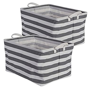 DII Cotton/Polyester Cube Laundry Basket, Perfect In Your Bedroom, Nursery, Dorm, Closet, 12.5 x 18 x 10.5 , XL Set of 2 - Gray Rugby Stripe