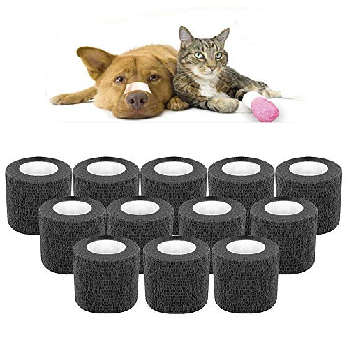 Lesgos Selbstklebende Vliesbandage Wrap, 12er Packung, atmungsaktiv, selbstklebend, kohäsiver Verband, medizinisches Vet Tape, Erste Hilfe für Hunde, Katzen, Pferde, Vögel, Tiere