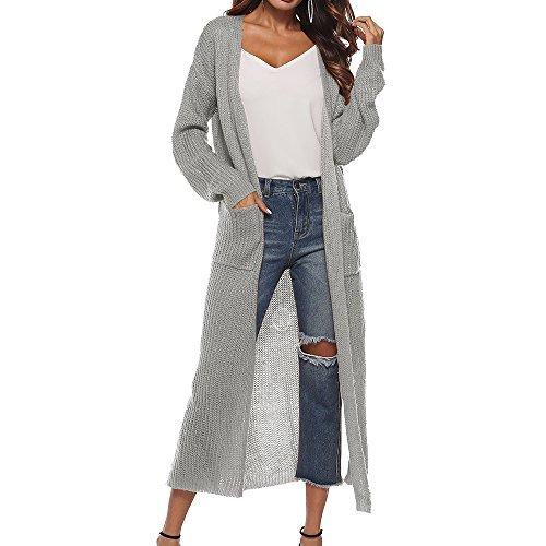 Shujin Damen Strickjacke Langarm Casual Maxi Offene Cardigan Asymmetrisch Schlitz Strickmantel Open Front Cardigan Sweater Outwear Herbst Winter Mantel mit Taschen