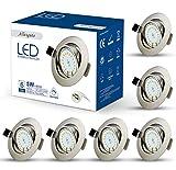 6er Set LED Einbaustrahler 230v Dimmbar GU10 Spots 5w warmweiß LED Deckenleuchte Schwenkbar einbauleuchten 450lm spot für badezimmer Schlafzimmer Küche Wohnzimmer