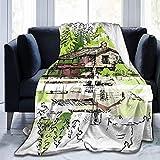 N/A Ultraweiche Micro-Fleece-Decke, farbige Linien, Skizze von grüner Landschaft, Heimdekoration, warme Überwurfdecke für Couch, Bett, 203 x 152,4 cm