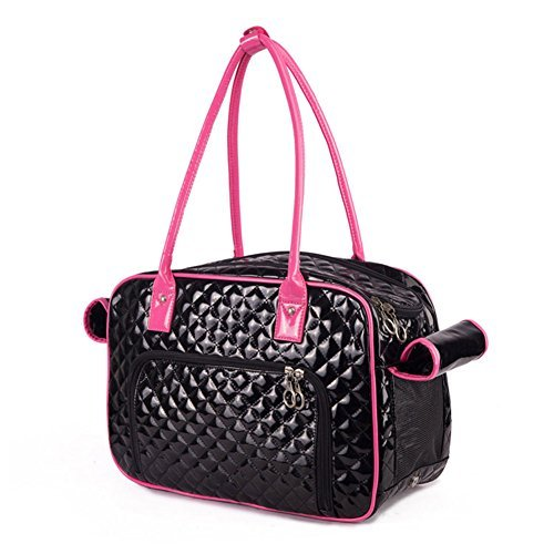 BETOP HOUSE Mirror Surface Faux Leather Tote Purse Dog and Pet Carrier Travel Bag, Black and Pink