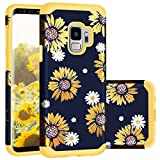 Samsung S9 Case,S9 Cases,Casewind Samsung Galaxy S9 Case Sunflower Glitter Slim Fit 2 in 1 Hard PC Soft Silicone Hybrid Protection Shockproof Anti Scratch Bumper Cover Galaxy S9 Case for Girls,Yellow