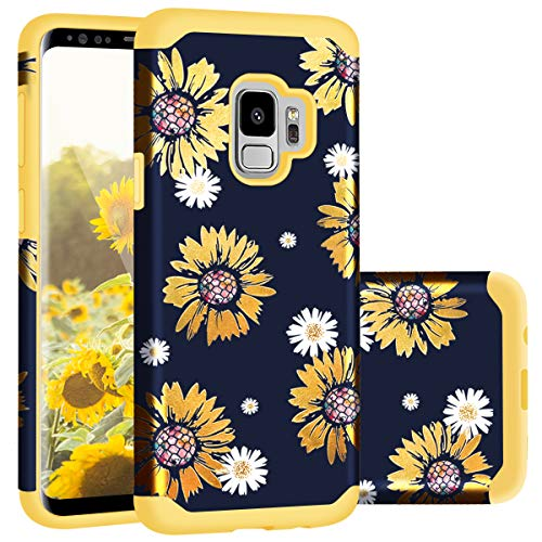 Galaxy S9 Case,Samsung S9 Case,Casewind Samsung Galaxy S9 Case Sunflower Glitter Slim Hard PC Soft Silicone Hybrid Protection Shockproof Anti Scratch Bumper Cover Galaxy S9 Case Girls,Yellow