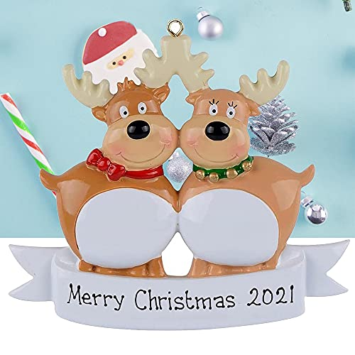 Personalized Reindeer Family of 2, 3, 4, 5, Christmas Tree Ornament 2021 - Cute Elk Deer Holiday Winter Gift Year Durable 2021 Family Holiday Decorations Winter New Year Gift