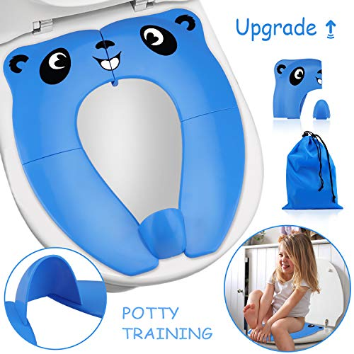 Upgrade Portable Potty Seat with Splash Guard for Toddler, Foldable Travel Potty Seat with Carry Bag, Non-Slip Pads Toilet Potty Training Seat Covers for Baby, Toddlers and Kids (Blue)