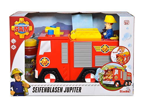Simba 109252294 - Feuerwehrmann Sam Seifenblasen Jupiter / Automatische Funktion / 120ml Lauge / 20cm