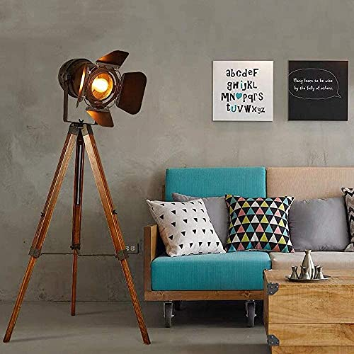 Modern Industrial Tripod Floor Desk Lamp - Vintage Wooden Nautical Cinema Searchlight - Camera Projector Bedside Reading Table Light Deco for Living Room, Office, Galaxy Adjustable Height(no E26 Bulb)