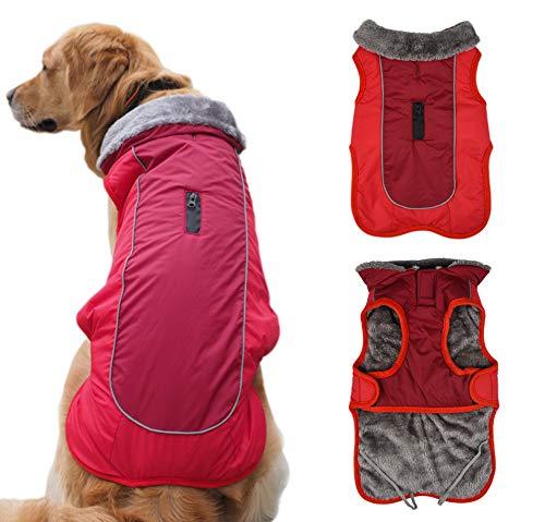 Idepet Chaqueta Abrigada para Perros, Traje para Nieve Resistente al Agua para Mascotas, Ropa Reflectante a Prueba de Viento para Perros pequeños, medianos y Grandes