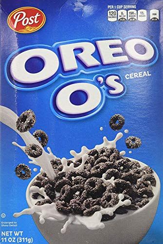 Post Oreo O's Cereal - American Cereal, Sweet and Crunchy Breakfast, Chocolate Flavour - Box of 2, 311g Original Oreo Snack