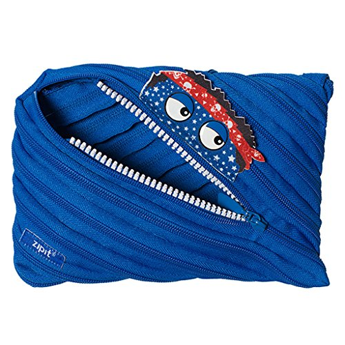 ZIPIT Talking Monstar Large Pencil Case, Holds Up to 60 Pens, Made of One Long Zipper! (Blue)