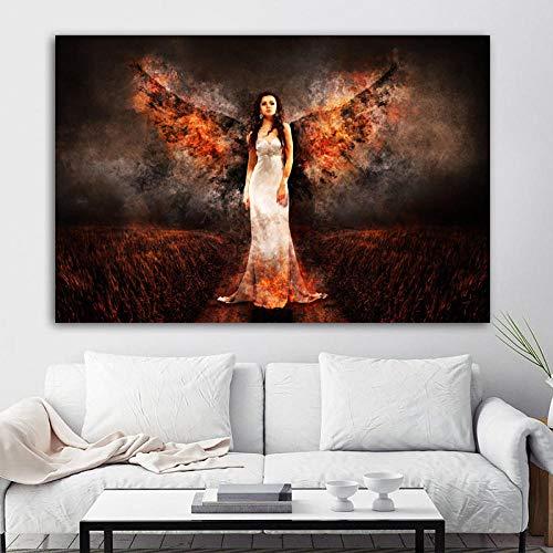 CNHNWJ Poster wandbilder Leinwandbild Hells Angels Frauen Feuer Flügel Wandbilder für Wohnzimmer Bild Wohnung Deko 60x85 cm kein Rahmen