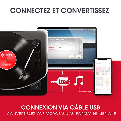 ION Audio Air LP - Platine Vinyle Bluetooth à Trois Vitesses (33, 45 et 78 Tours) avec Conversion...