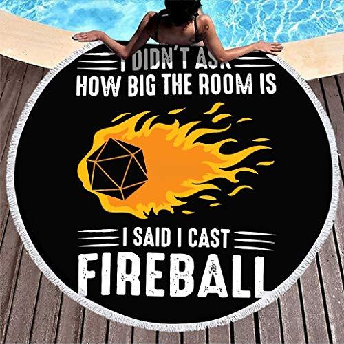WellWellWell I Cast Fireball - Toalla de playa de secado rápido, toalla de playa para adultos, color blanco, 150 cm