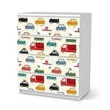 creatisto Möbelfolie selbstklebend für Kinder - passend für IKEA Malm Kommode 4 Schubladen I Tolle Möbelaufkleber für Kinder-Zimmer Deko I Design: Cars