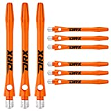 RED DRAGON DRX Coated Aluminium Medium Orange Logo Dart Stems (Shafts) - 2 Sets per Pack (6 Stems in Total)