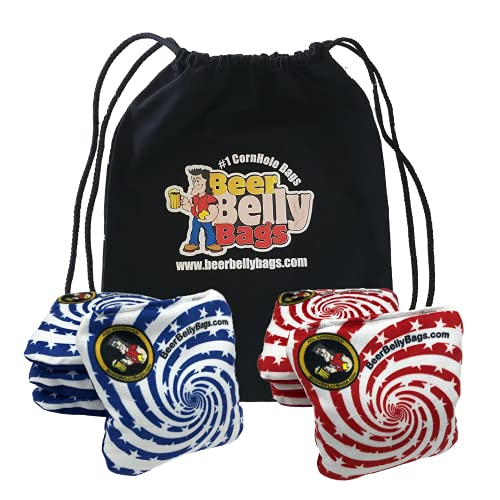 Beer Belly Bags Pro Style Performance Cornhole Bags Tournament Regulation Resin Fill 16 Ounce - Set of 8 Includes Drawstring Carry Tote Made in USA (Stars & Stripes)