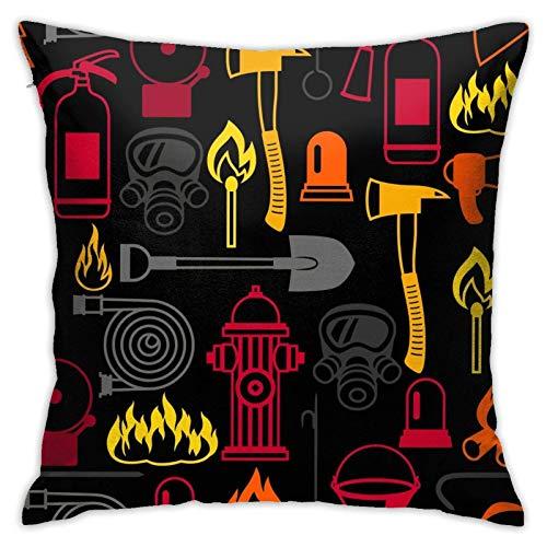 Seamless-Mattern-With-Firefighting-Items-Fire-Vector-14858725 Dekorative Dekokissenbezüge 45,7 x 45,7 cm, 3D Rendering Square Double