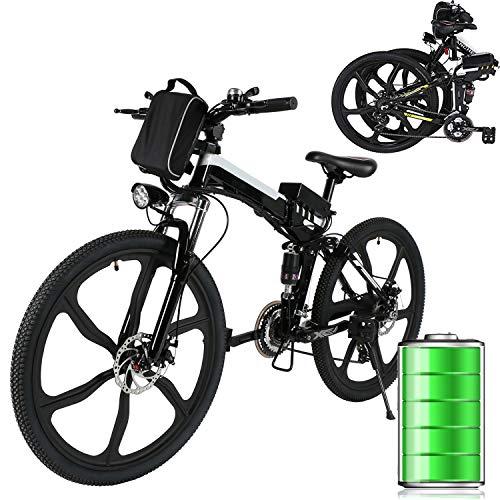 Eloklem E-Bike Faltrad Mountainbike Elektrofahrrad mit 21-Gang Shimano Nabenschaltung, 250W, 8AH, 36V Lithium-Ionen-Akku, 26