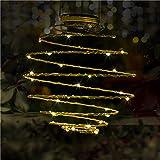 Dalux® Solar-Laterne SPIRALE zum hängen, Stimmungsleuchte Party-Deko-Leuchte Dekoration für Hauseingang, Balkon, Terrasse (Gelb)