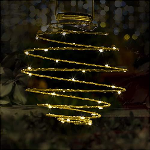 Dalux® Solar-Laterne SPIRALE zum hängen Stimmungsleuchte Party-Deko-Leuchte Dekoration für Garten, Balkon, Terrasse (Gelb)