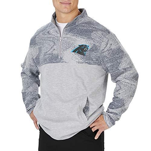 Zubaz Officially Licensed NFL Men's Carolina Panthers Heather Gray 1/4 Zip Jacket with Tonal Gray Static Yoke & Sleeves, Size Large