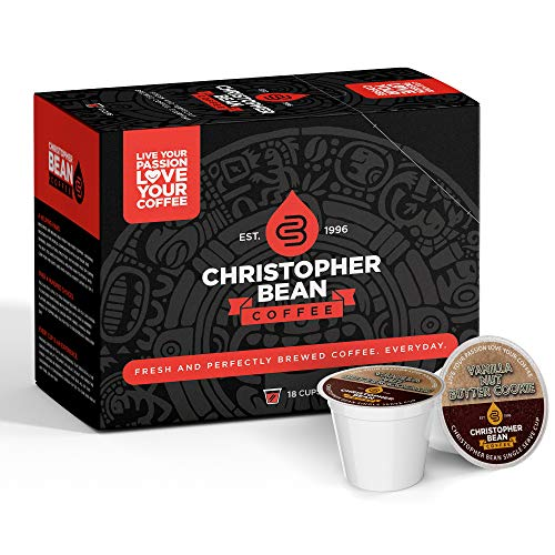 Vanilla Nut Butter Cookie Single Coffee Cup, (Decaf) 100% Recyclable Single Serve Flavored K-Cup, 100% Arabica, No Sugar, No Fats, Non-GMO, 18 Cups of Regular Coffee Per Box – Christopher Bean