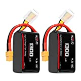 HOOVO 4S 14.8V 1300mAh 120C Lipo Battery Pack with XT60 Connector for Popular RC Car RC Helicopter Airplane Quadcopter UAV Drone FPV (2 Packs)