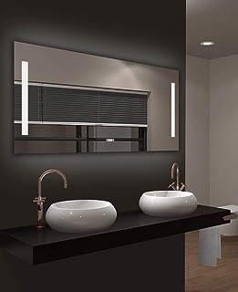 Miroir de Salle de Bains à LED Talos Star, Couleur de la lumière 4200K, Horloge numérique, 120 x 60 cm