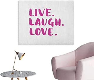Anzhutwelve Live Laugh Love Photographic Wallpaper Positive Live Laugh Love Quote with Brush Stroke Effect Hand Lettering Poster Print Purple White W32 xL24