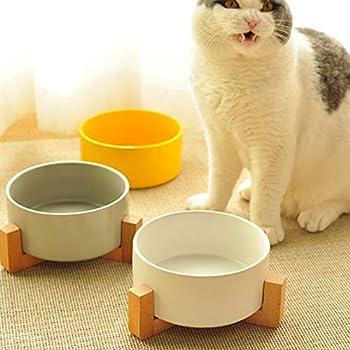 Pet Gamelles pour Chien et Chat,Gamelles Céramique avec Support en Bois Design,Gamelle Avec Support Pour Chien,Gamelle pour chien en hauteur,Gamelles Avec Support,Gamelle Chat Chien (White)