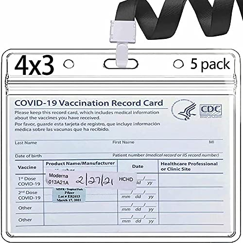 Vaccine Card Holder 4X3 Vaccine Card Protector Waterproof 5 Packs with lanyards covid Vaccination Card Protector Immunization Record Clear Vinyl Plastic Sleeve with Type Resealable Zip